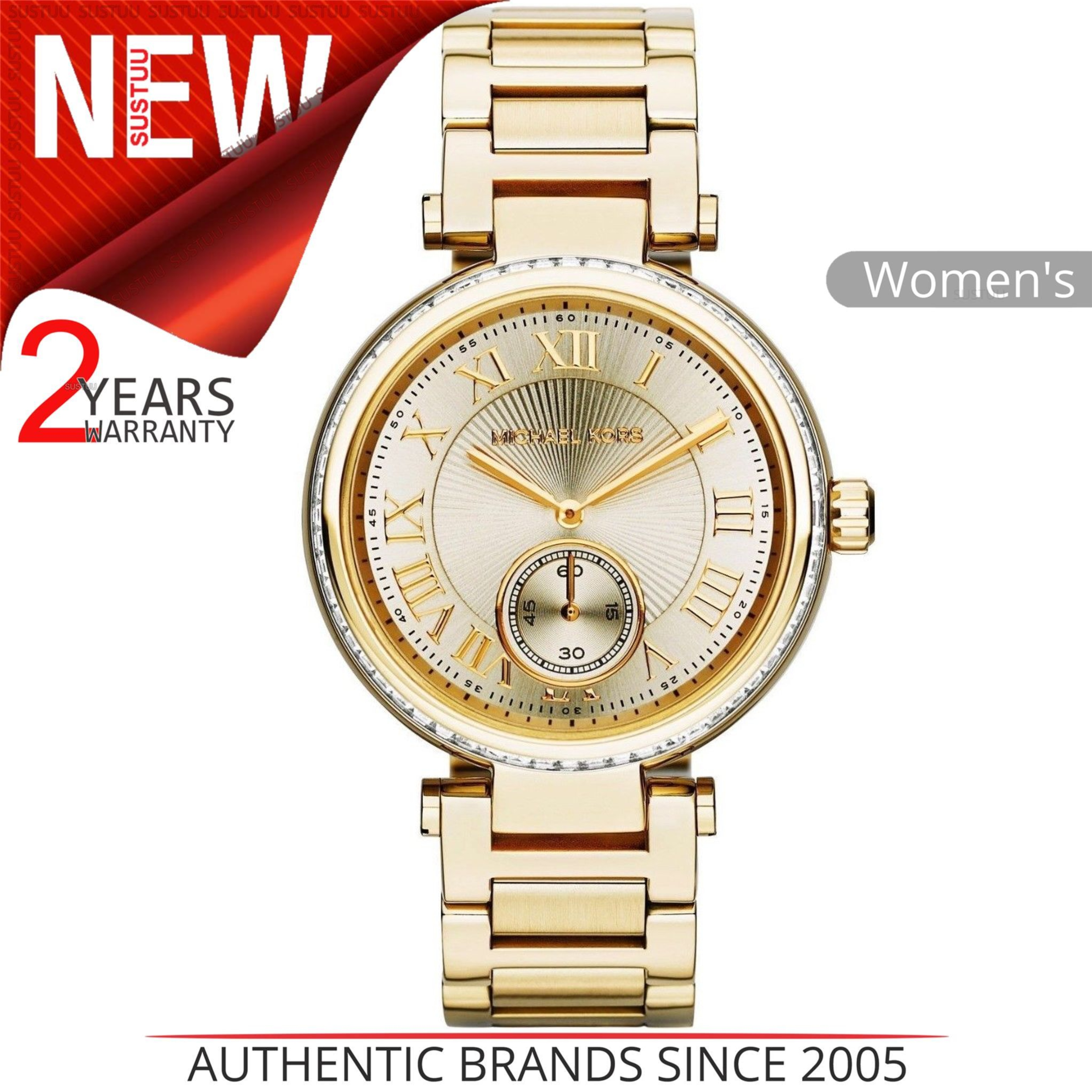 ba5588ae64ac Details about Michael Kors Skylar Champagne Dial Gold Tone Ladies Watch  MK5867