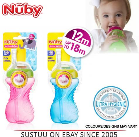 Nuby Flexi Straw Beaker Baby Slicone Non-Spill Leak Proof Toddler Cup 300ml 12m+ Thumbnail 1