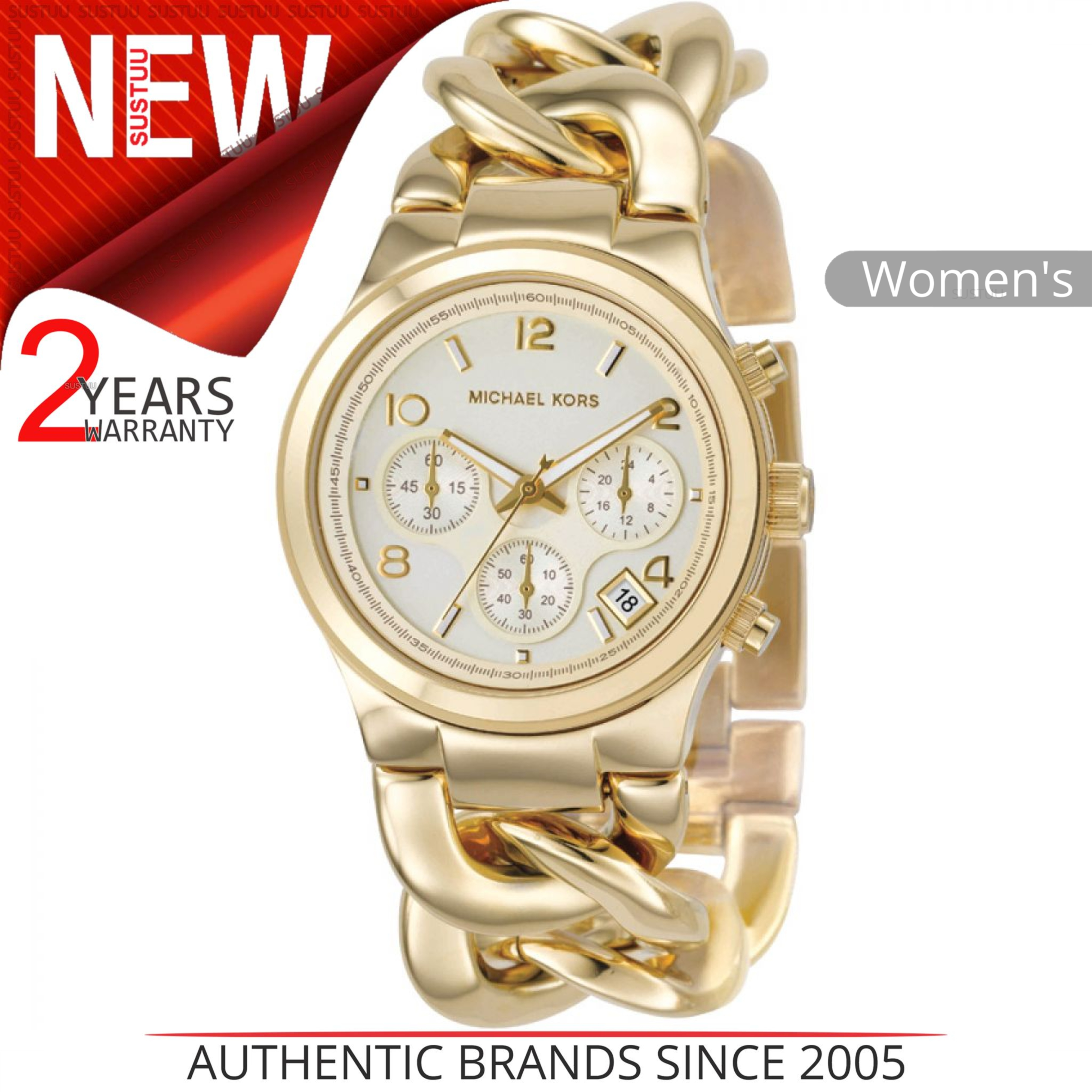 a79a0c0be1ed2 Details about Michael Kors Runway ladies Watch│Chronograph Dial│Gold Tone  Twist Bracelet│3131