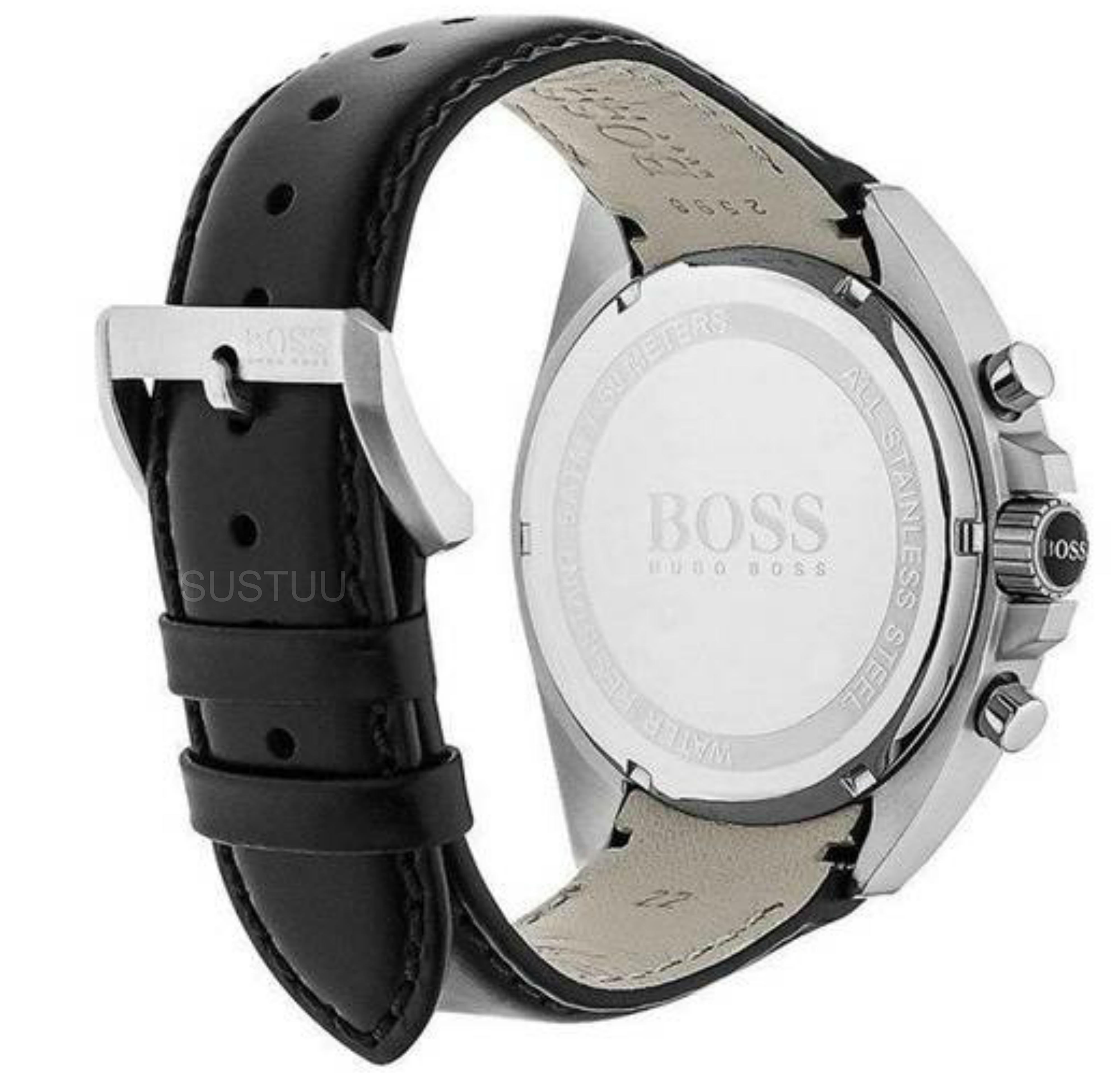 hugo boss gent 39 s leather strap driver sport chronograph. Black Bedroom Furniture Sets. Home Design Ideas