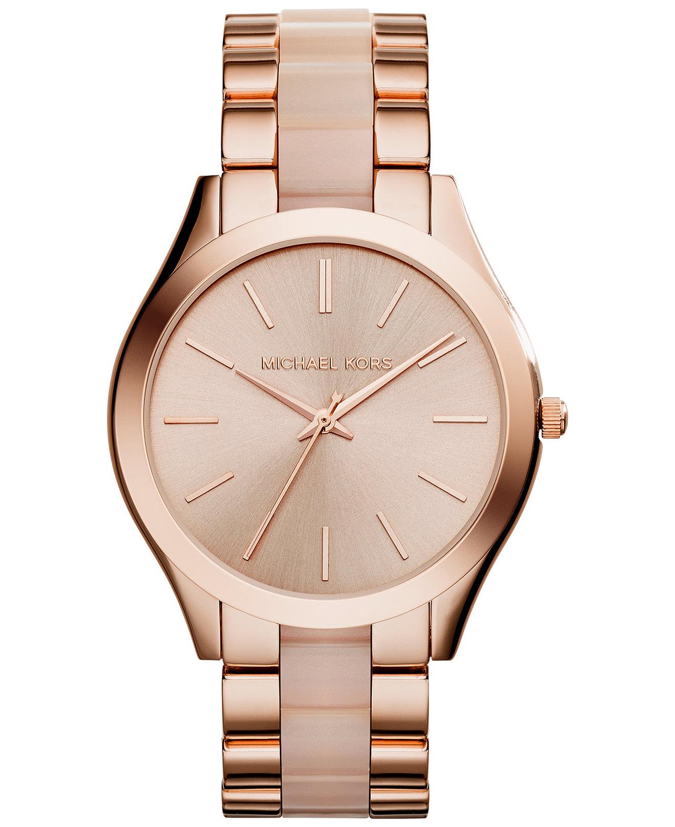 Michael Kors Ladies Slim Runway Rose Gold Tone Acetate Bracelet Watch MK4294