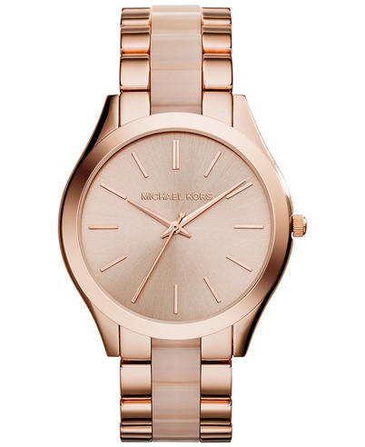 Michael Kors Ladies Slim Runway Rose Gold Tone Acetate Bracelet Watch MK4294 Thumbnail 1