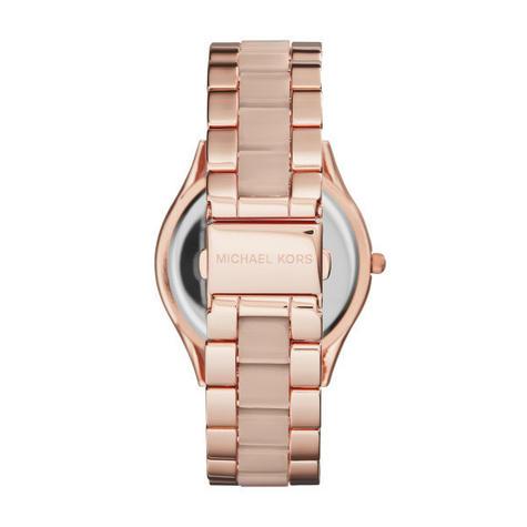 Michael Kors Ladies Slim Runway Rose Gold Tone Acetate Bracelet Watch MK4294 Thumbnail 2