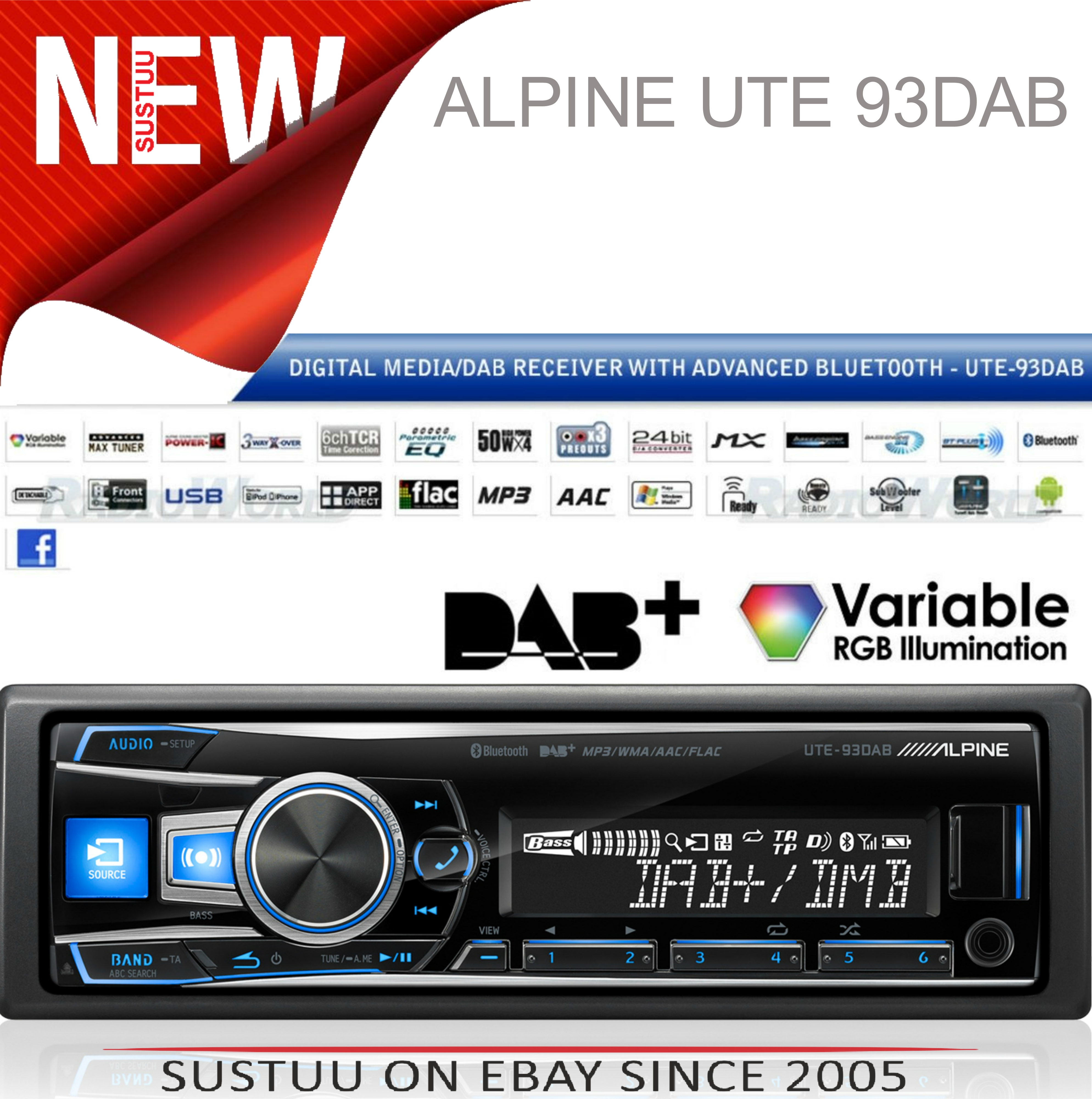 Alpine UTE 93DAB Digital Car Media Receiver Mechless Usb DAB+Bluetooth Front Aux