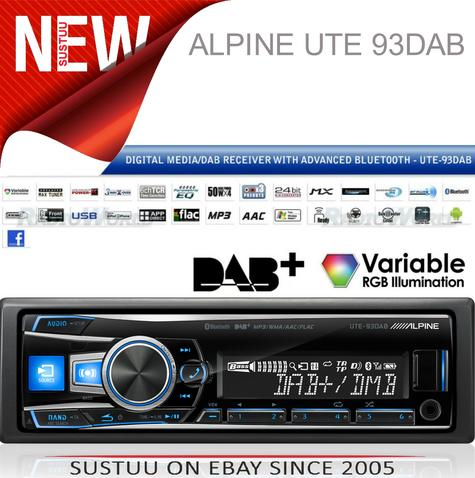 Alpine UTE 93DAB Digital Car Media Receiver Mechless Usb DAB+Bluetooth Front Aux Thumbnail 1