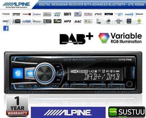Alpine UTE 93DAB Digital Car Media Receiver Mechless Usb DAB+Bluetooth Front Aux Thumbnail 1