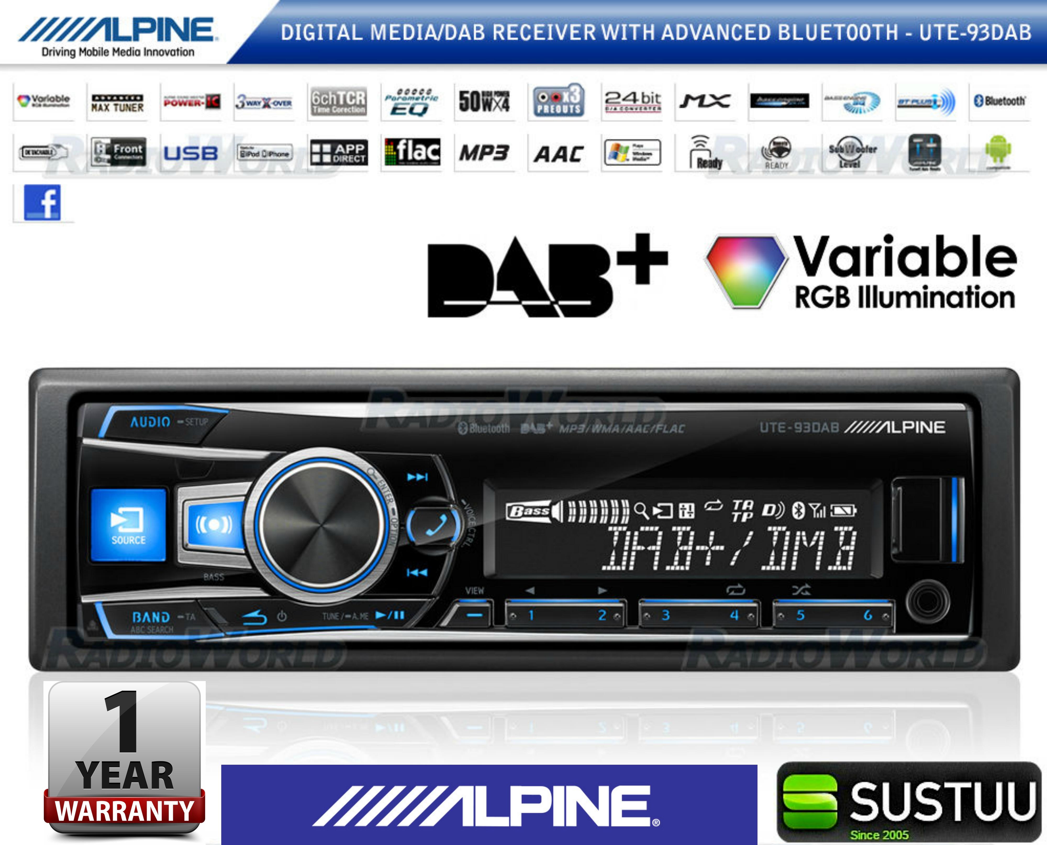 Alpine UTE 93DAB Digital Car Media Receiver Mechless Usb DAB+Bluetooth Front Aux
