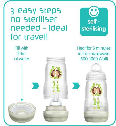 Mam Baby Formula Feeding Self Sterilising Anti-Colic Infant Bottle 260ml 3 Pack  Thumbnail 6