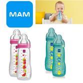 Mam Baby Formula Fast Flow Feeding Anti-Colic Infant Spill Free Lid Bottle 330ml