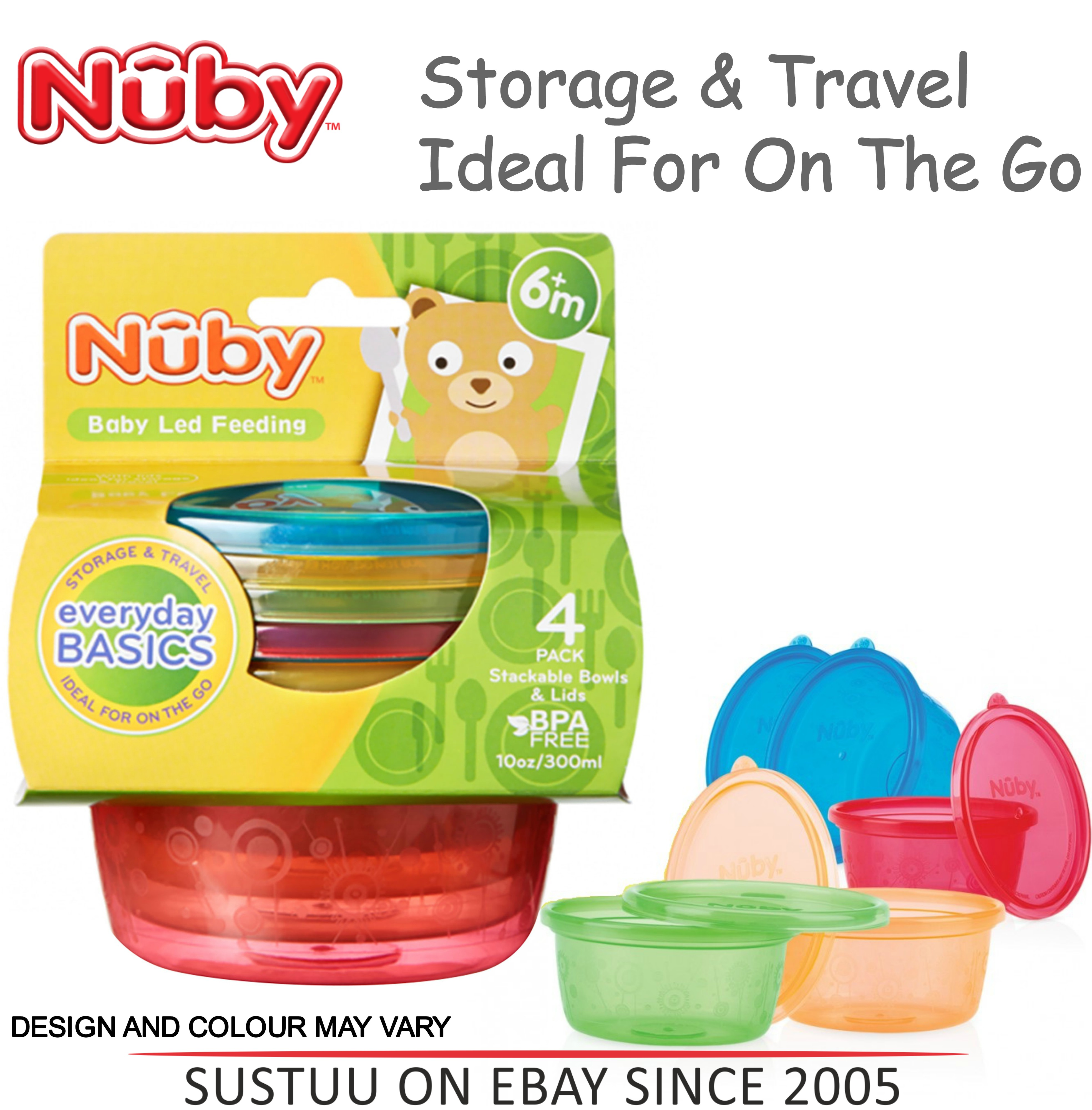 Nuby Stackable Bowls and Lids Baby Travel Spill Proof Food Storage Container 4PK