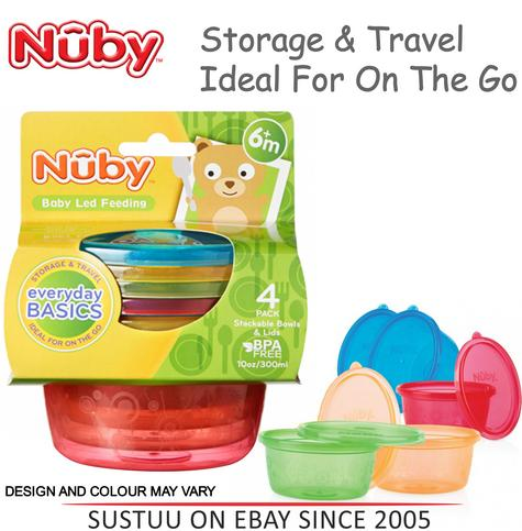 Nuby Stackable Bowls and Lids Baby Travel Spill Proof Food Storage Container 4PK Thumbnail 1