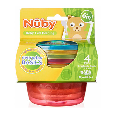 Nuby Stackable Bowls and Lids Baby Travel Spill Proof Food Storage Container 4PK Thumbnail 3