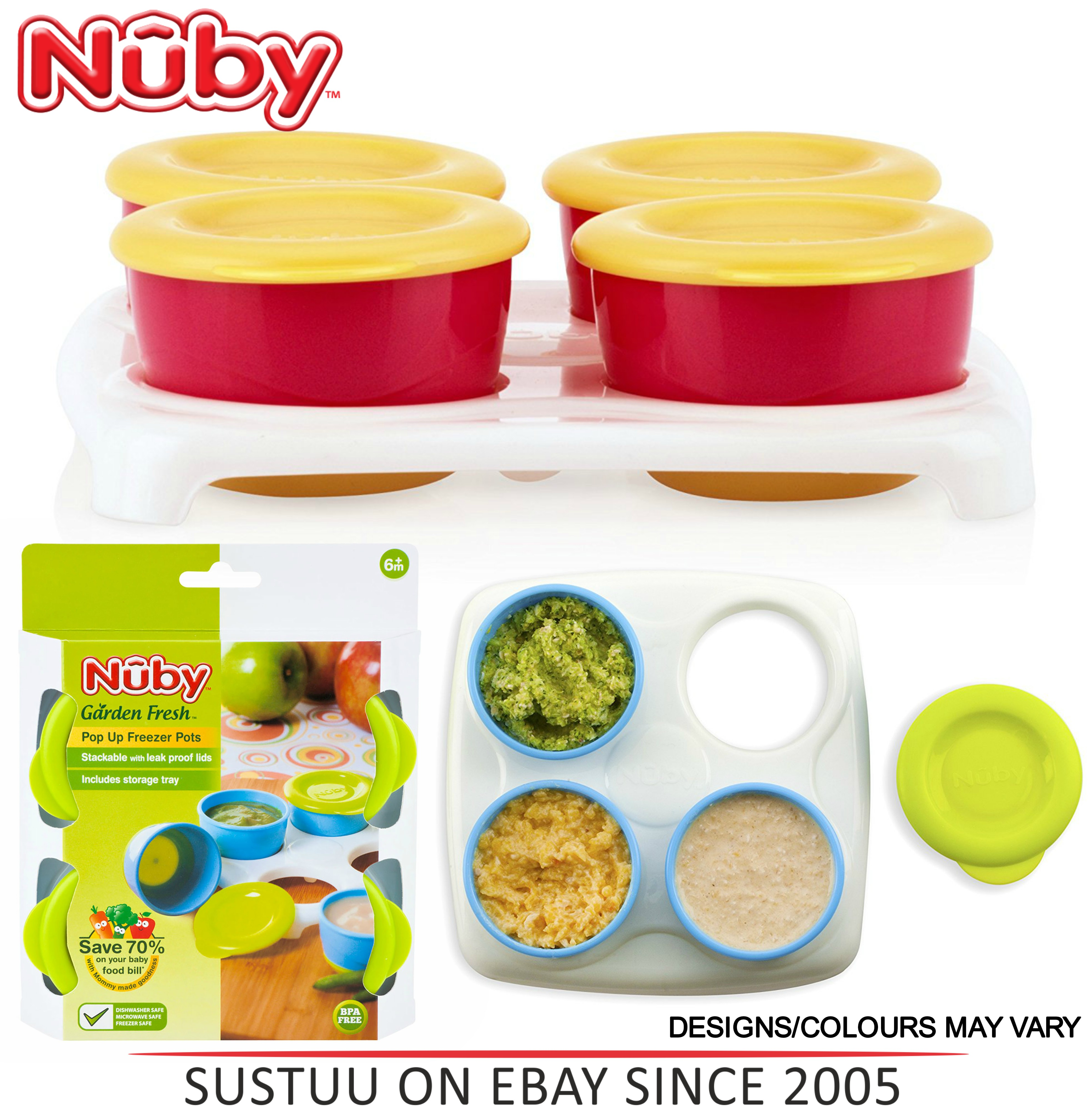Nuby Garden Fresh Freezer Pots?Baby Food & Snack Storage with Lids Container?4m+