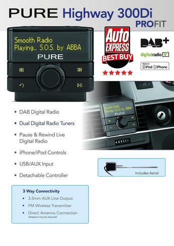 Pure Highway 300DI Add on DAB In Car Digital Radio | Aux | USB | Fits iPod-iPhone-iPad Thumbnail 3