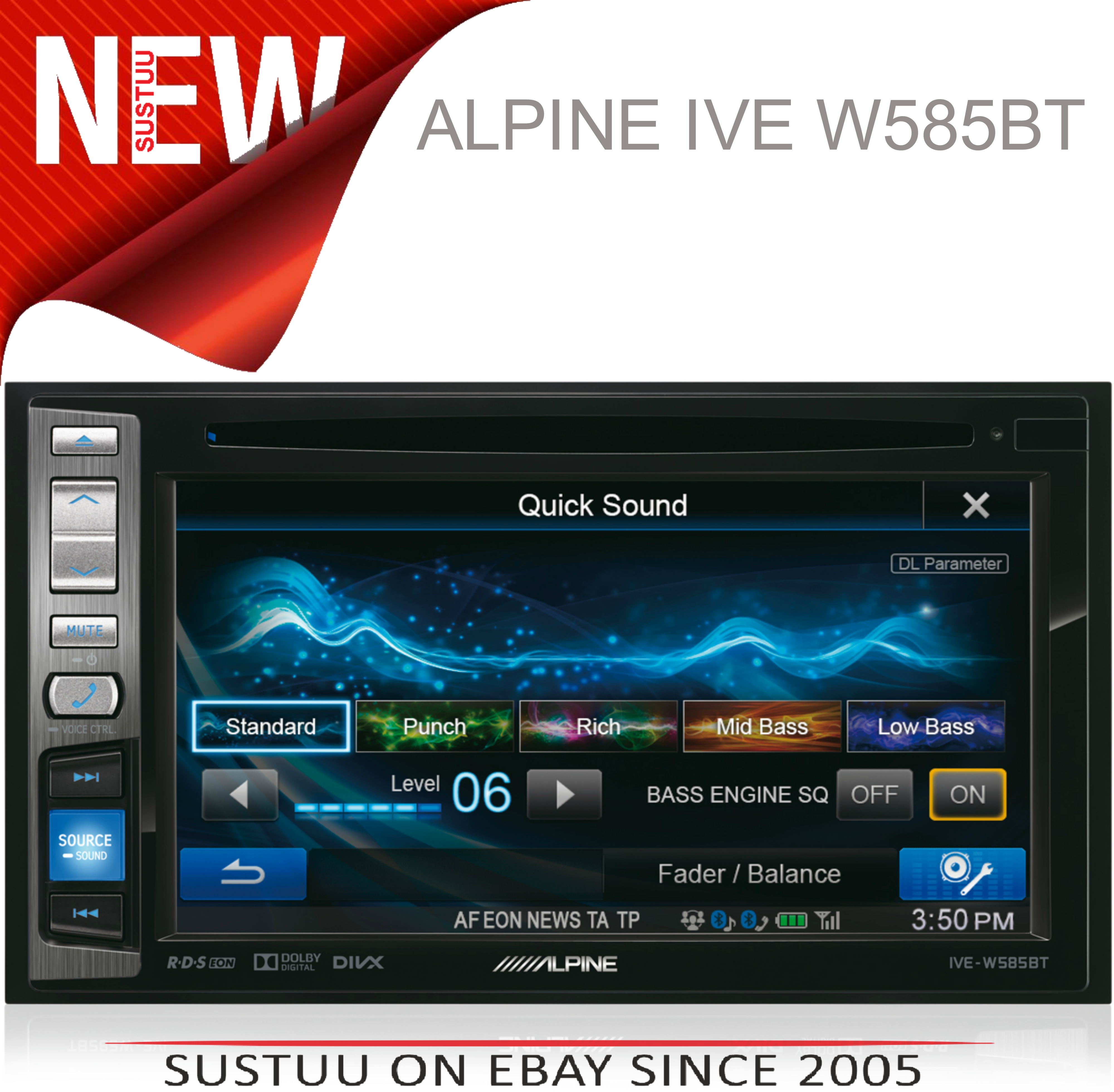 "Alpine IVE W585BT 6.1"" Touch Radio CD/DVD/DIVX/MP3 Double Din Stereo Bluetooth"