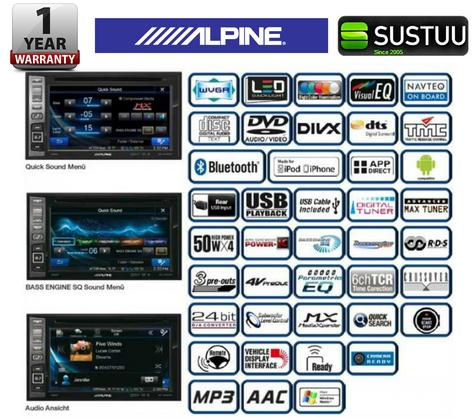 "Alpine IVE W585BT 6.1"" Radio CD/DVD/DIVX/MP3 Double Din Stereo Bluetooth NEW Thumbnail 6"