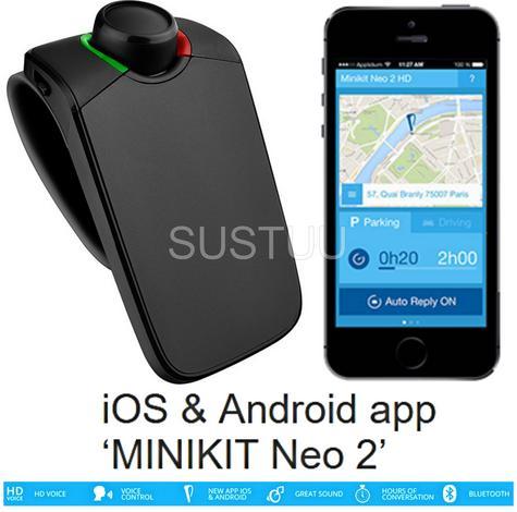 PARROT MINIKIT Neo 2 HD Bluetooth Mobile Phone Handsfree Portable Car Kit BLACK Thumbnail 1