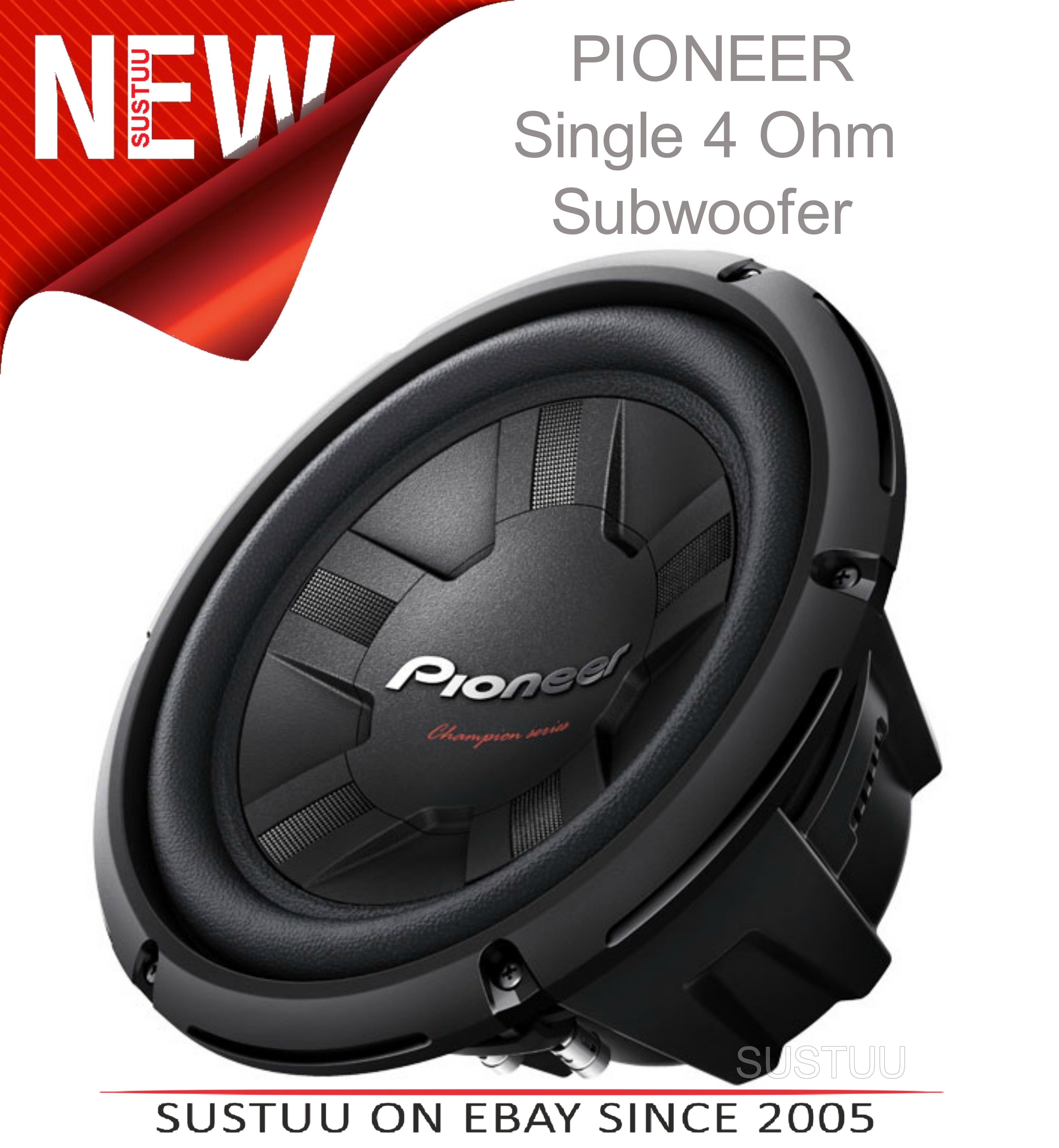 Pioneer TS W261S4 25 cm 4? enclosure-type single voice coil subwoofer (1200W)NEW