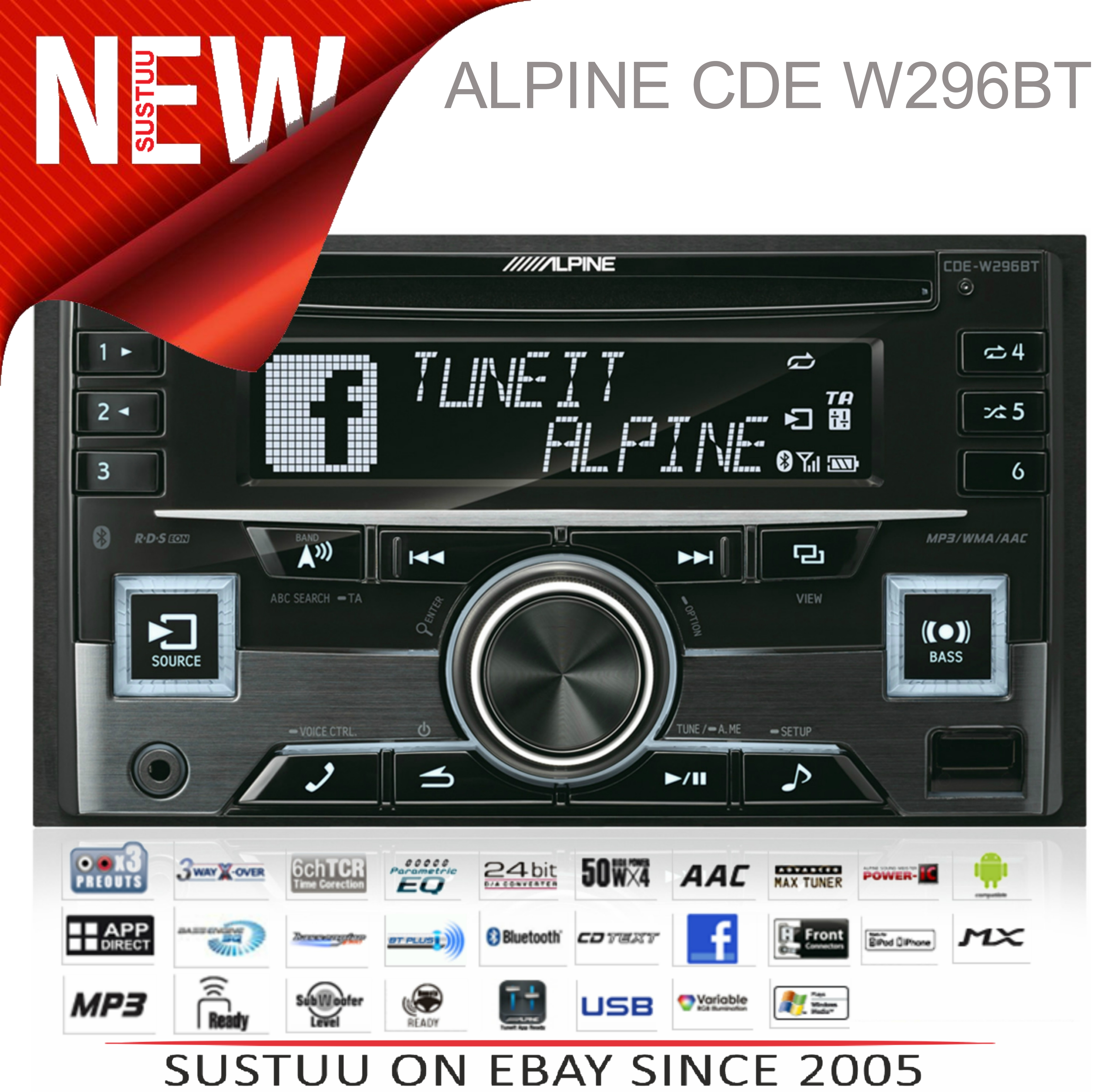 Alpine In Car Stereo-CD Receiver?2DIN?RDS?Bluetooth?USB?Aux?iPod-iPhone-Android