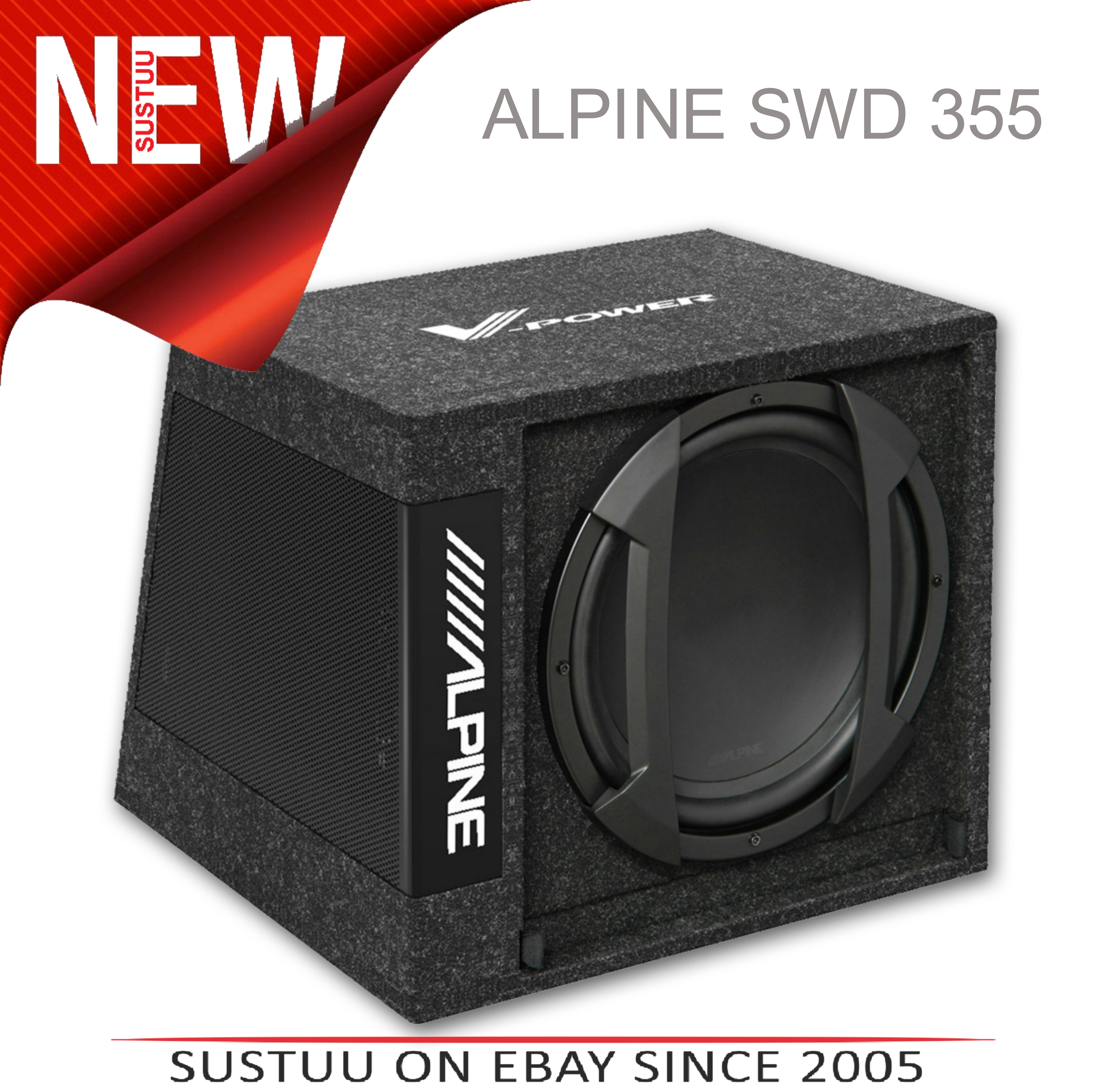 "Alpine SWD 355 Subwoofer Combined With Digital V-POWER Mono Amplifier12"" 650W"