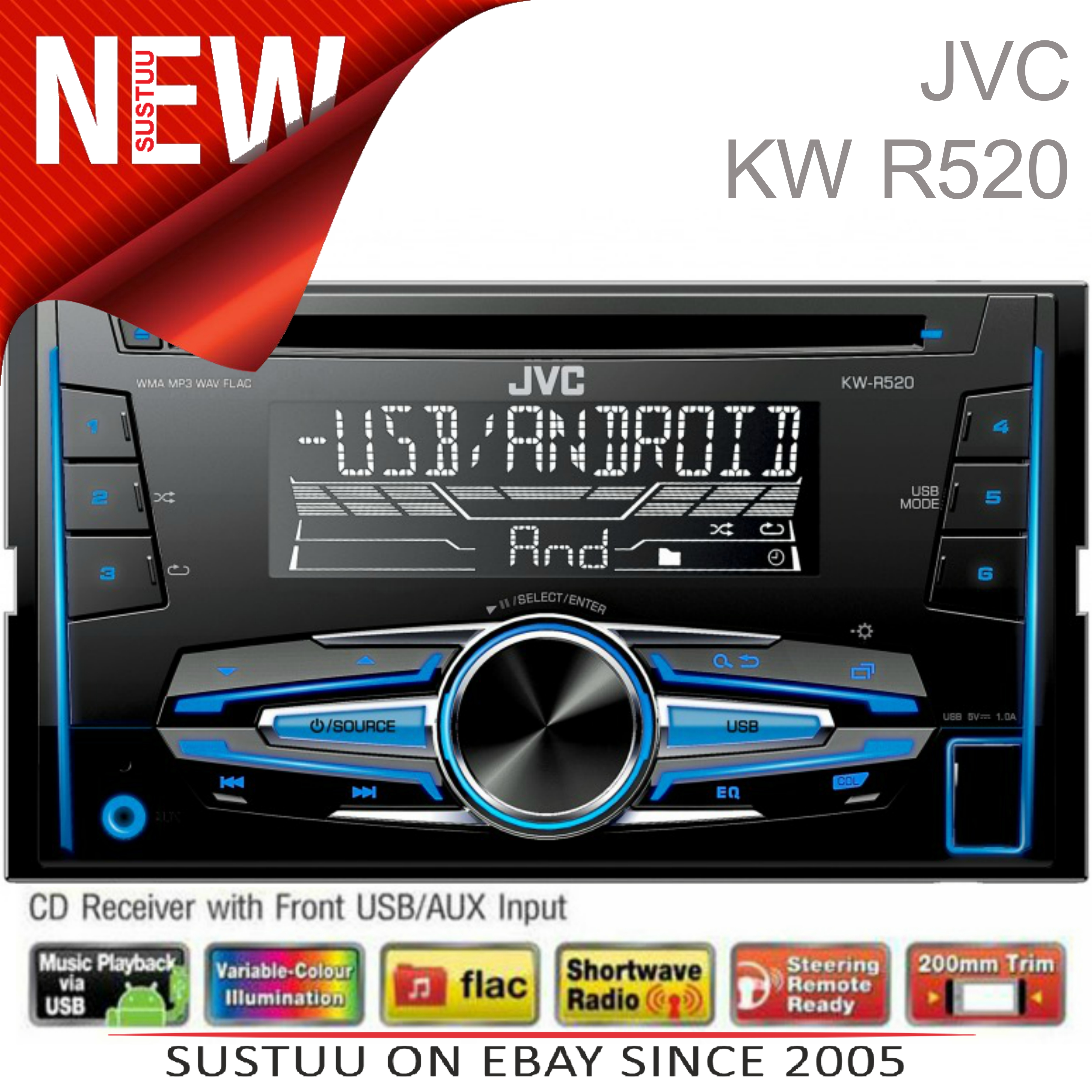 Sentinel JVC KW R520 Car Stereo│Double DIN│CD│Radio│MP3│FLAC