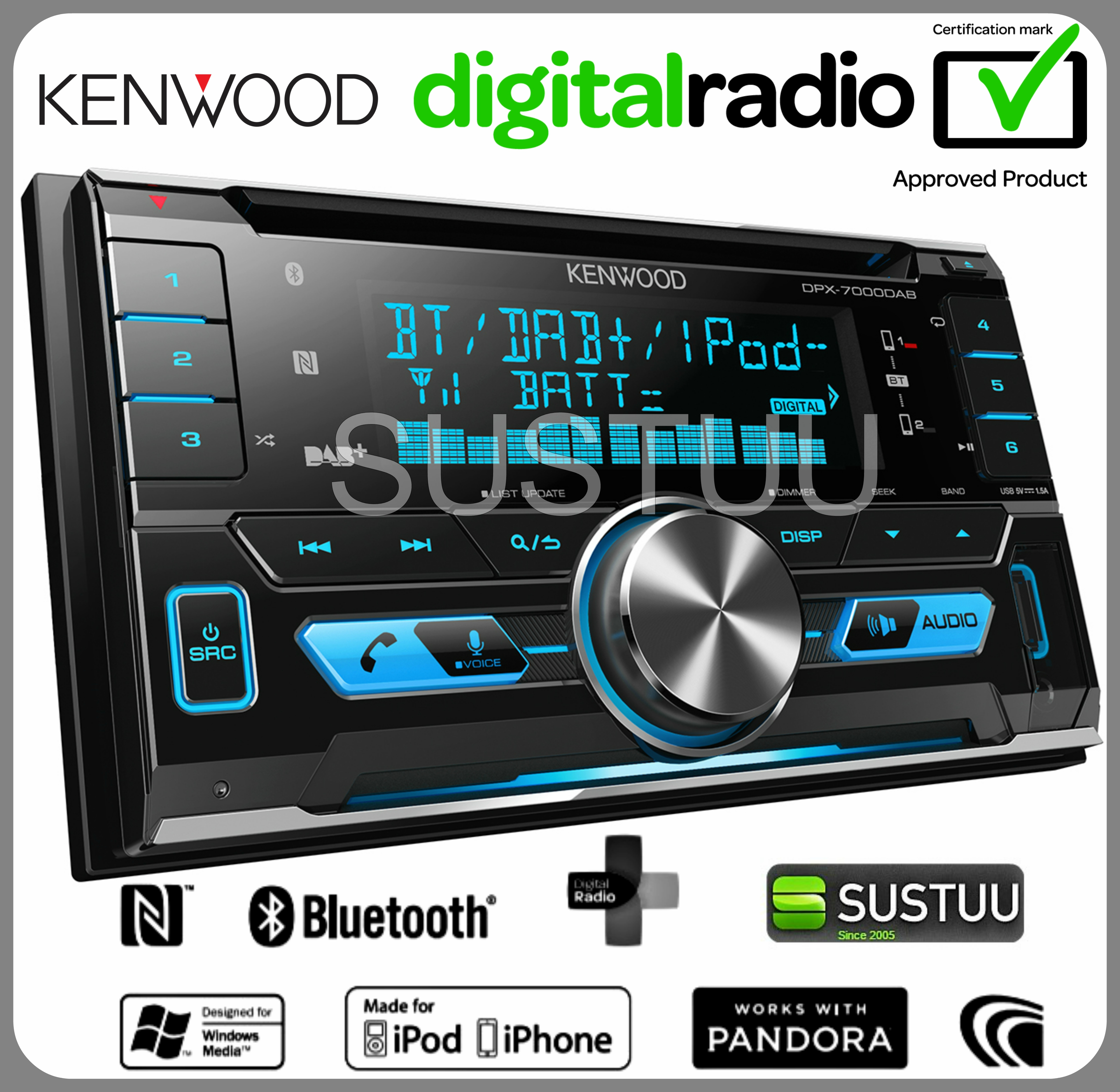 new kenwood dpx 7000dab car stereo 2din radio cd aux usb. Black Bedroom Furniture Sets. Home Design Ideas