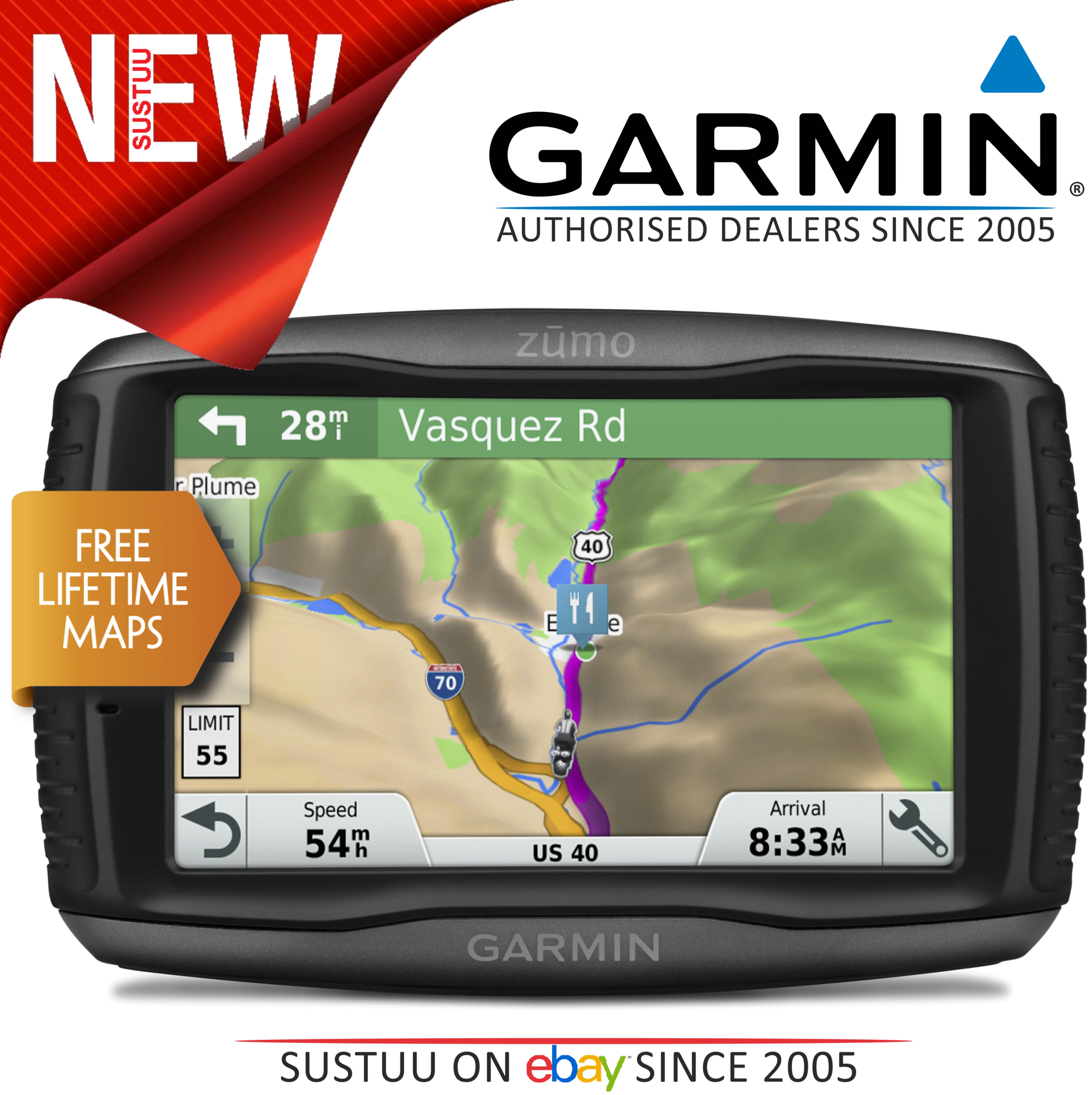 garmin zumo 595lm motorcycle gps satnav free uk europe lifetime maps update new sustuu. Black Bedroom Furniture Sets. Home Design Ideas