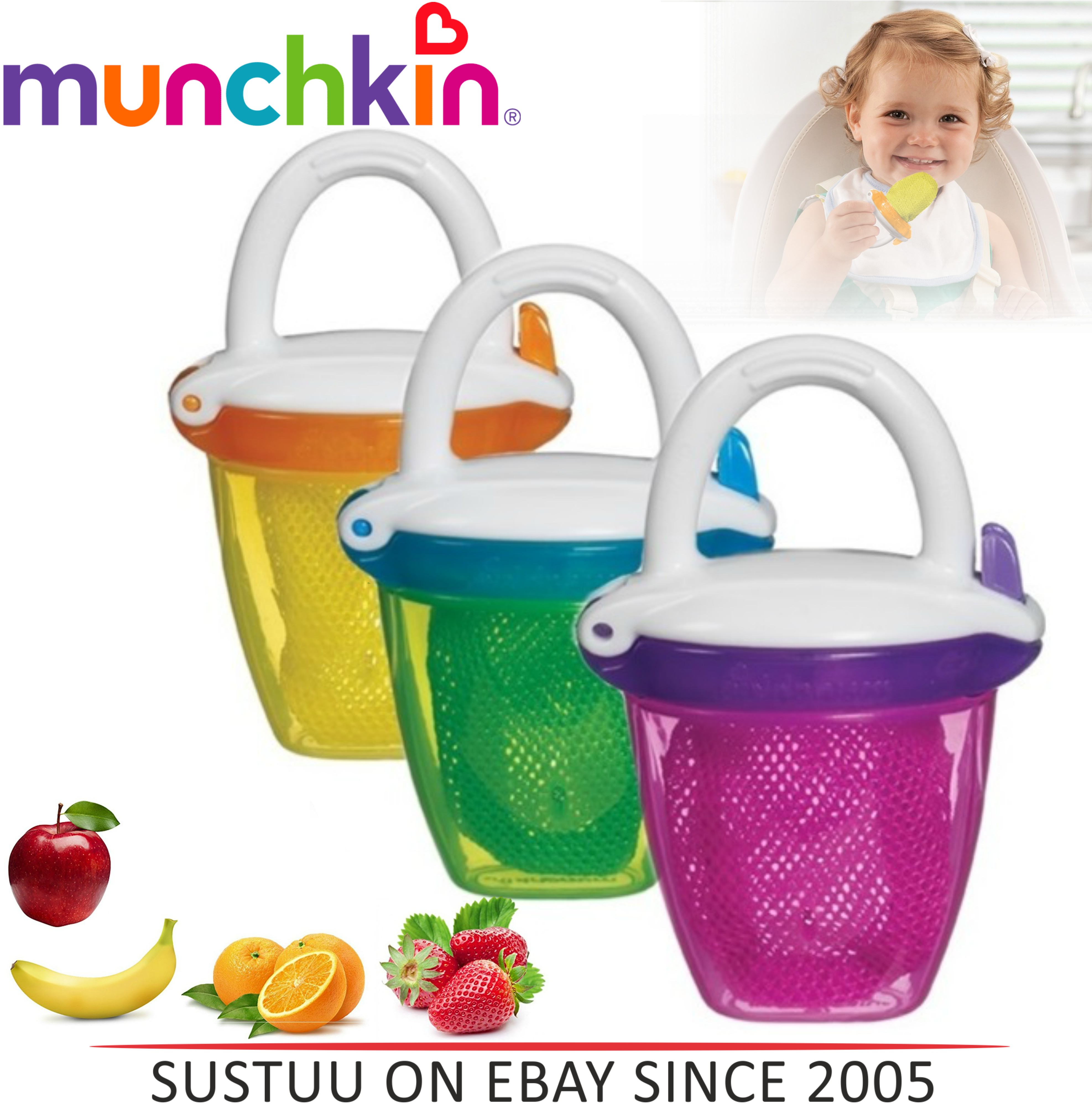 Munchkin Safe Easy Deluxe Baby Fresh Food Travel Feeder With Cap?BPA Free?+6m