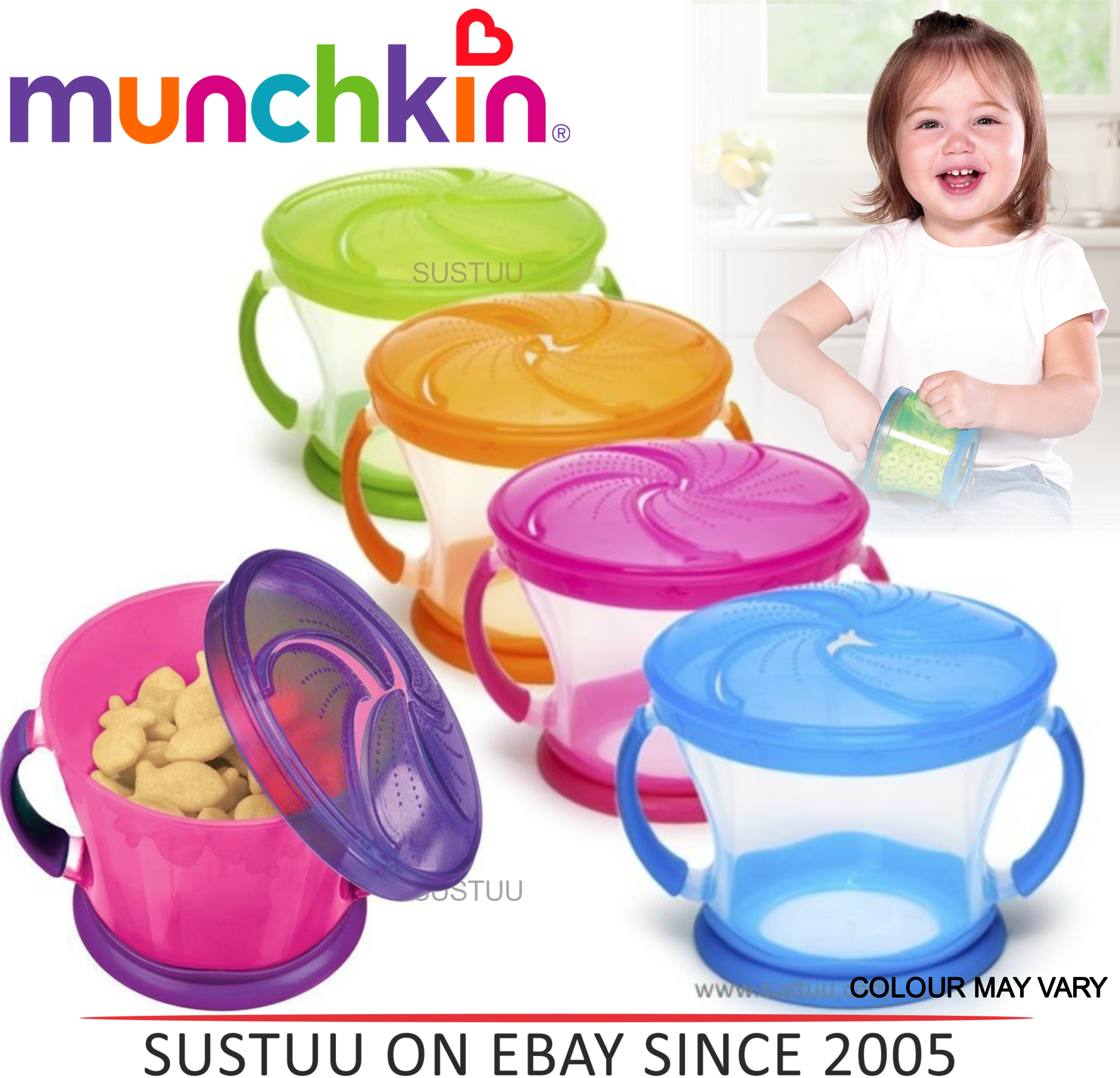 Munchkin Snack Catcher Baby Seal Proof kids Food Storage Bowl Travel