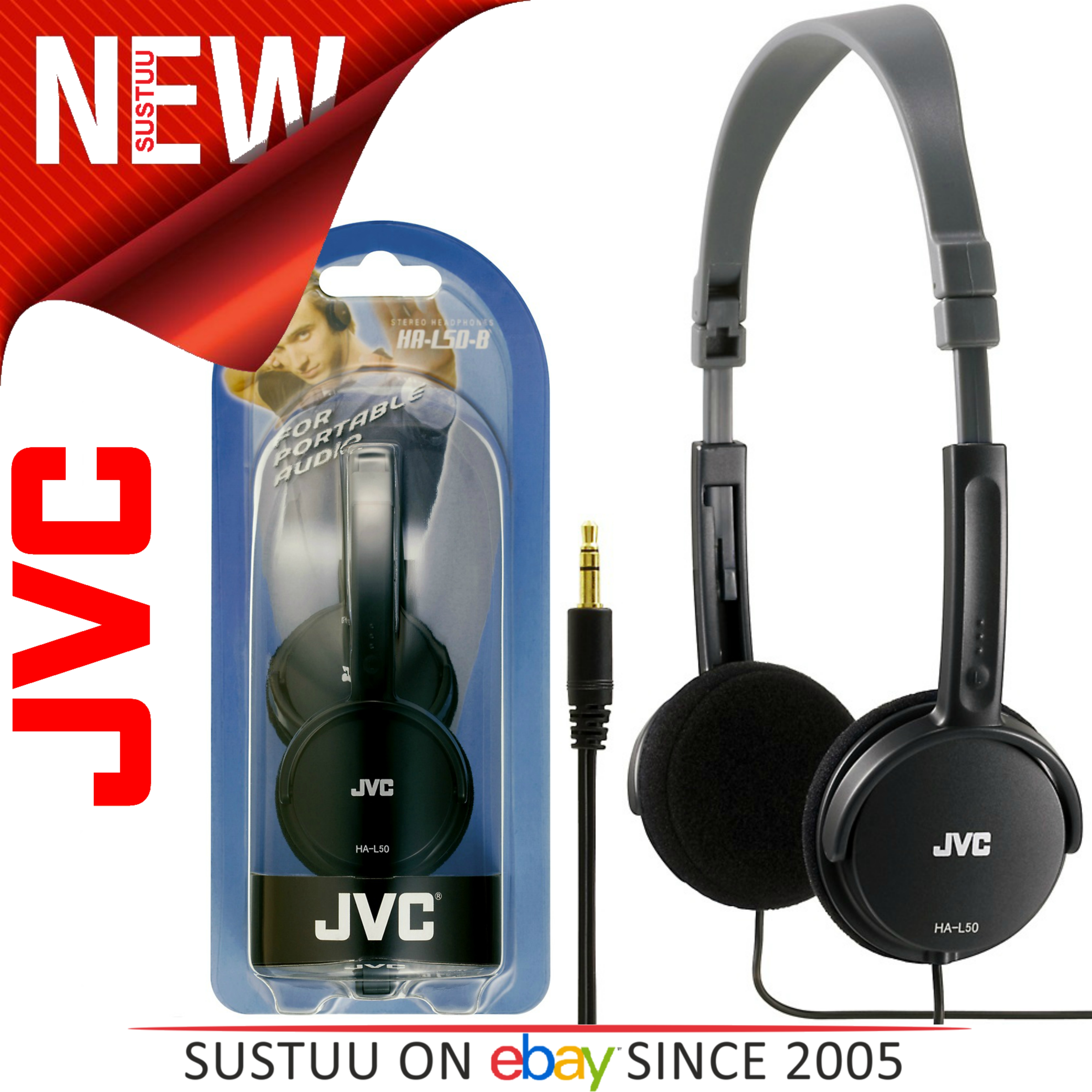 JVC HA-L50 Foldable Light Weight Stereo Headphone|Smartphone|Tablet|PC|Black|