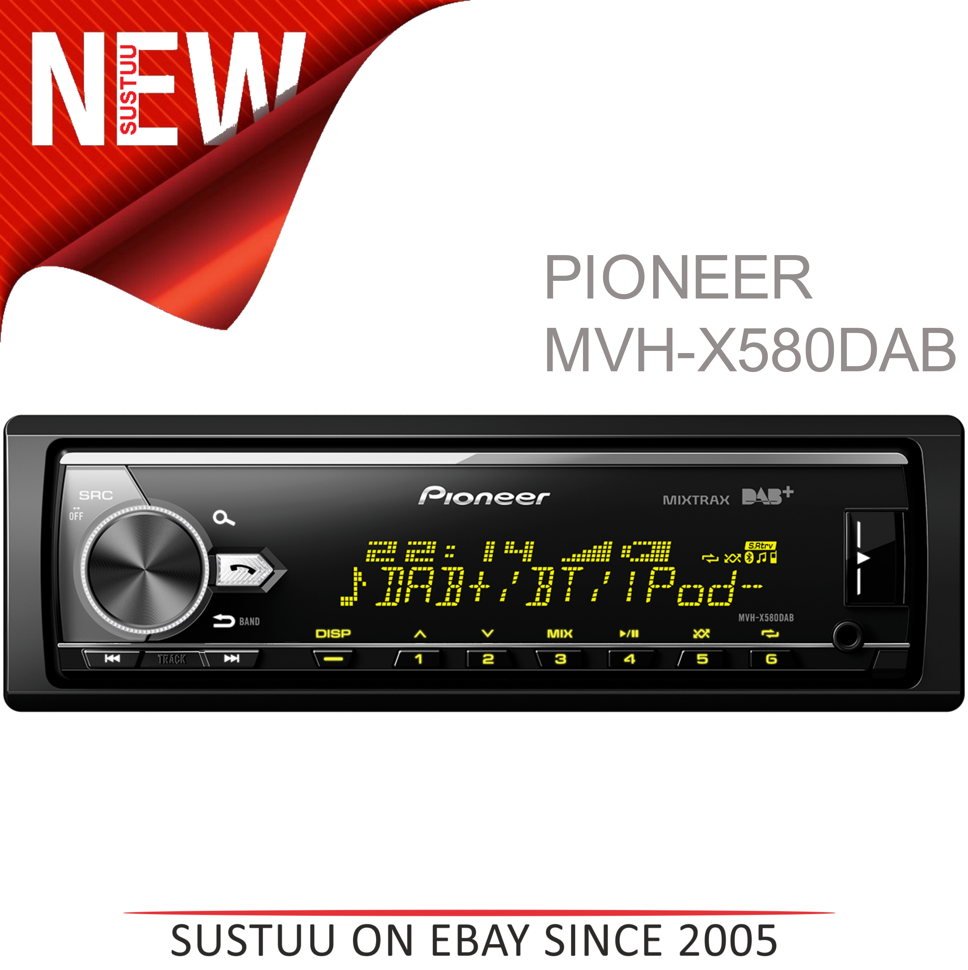 Pioneer MVH X580DAB Car Stereo|DAB+|AM/FM|Bluetooth|USB|Aux|*iPod-iPhone-Android