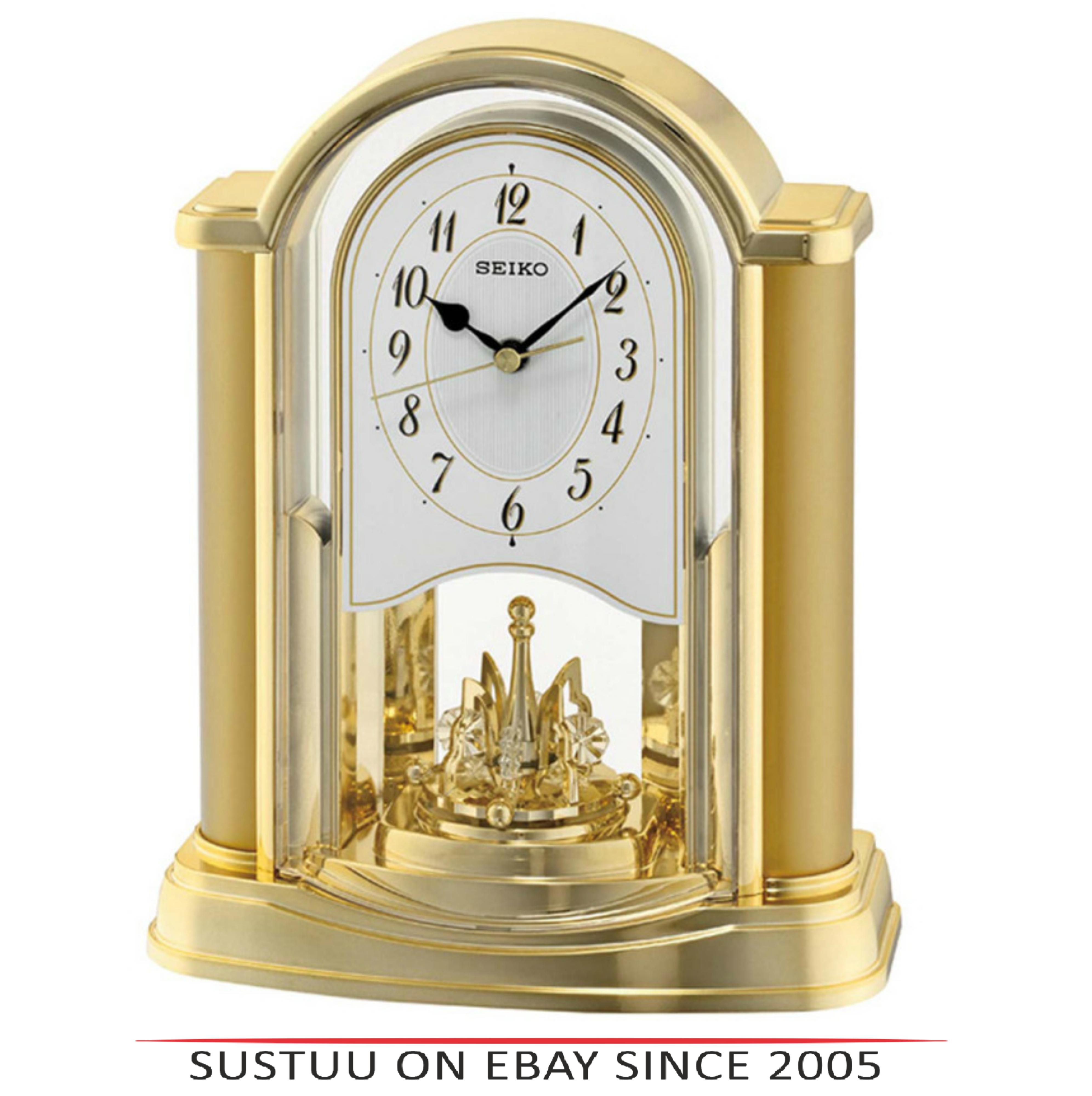 Seiko QXN228G New Rotating Pendulum Analogue Clock With Battery Operated - Gold