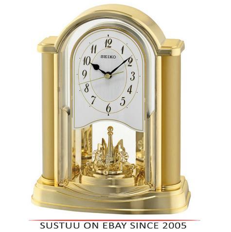 Seiko QXN228G New Rotating Pendulum Analogue Clock With Battery Operated - Gold Thumbnail 1
