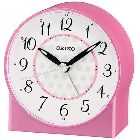 Seiko Sweep Second Hand Beep Alarm Clock - Pink Analog QHE136P Thumbnail 1