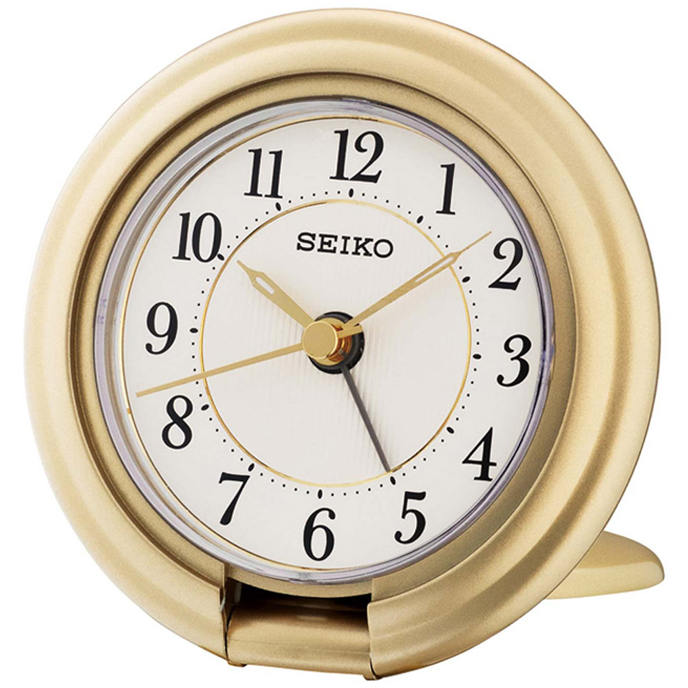 Seiko Travel Alarm Clock with Screen Press Function - Gold Analog QHT014G