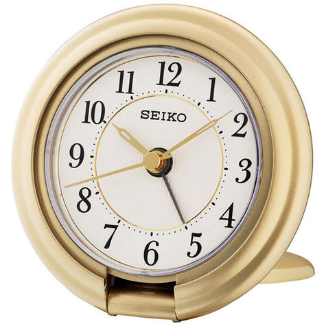 Seiko Travel Alarm Clock with Screen Press Function - Gold Analog QHT014G Thumbnail 1