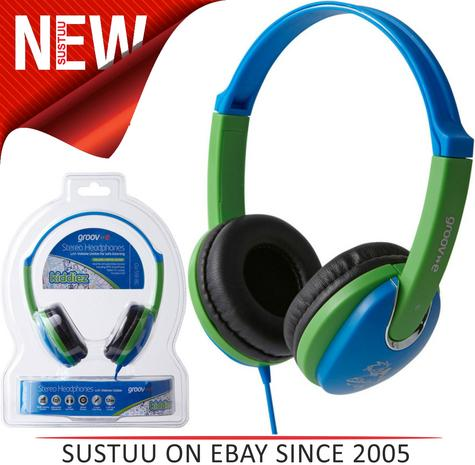 NEW Groov-e GV591 Kidz DJ Style Headphones with 85dB Volume Limiter - Blue/Green Thumbnail 1