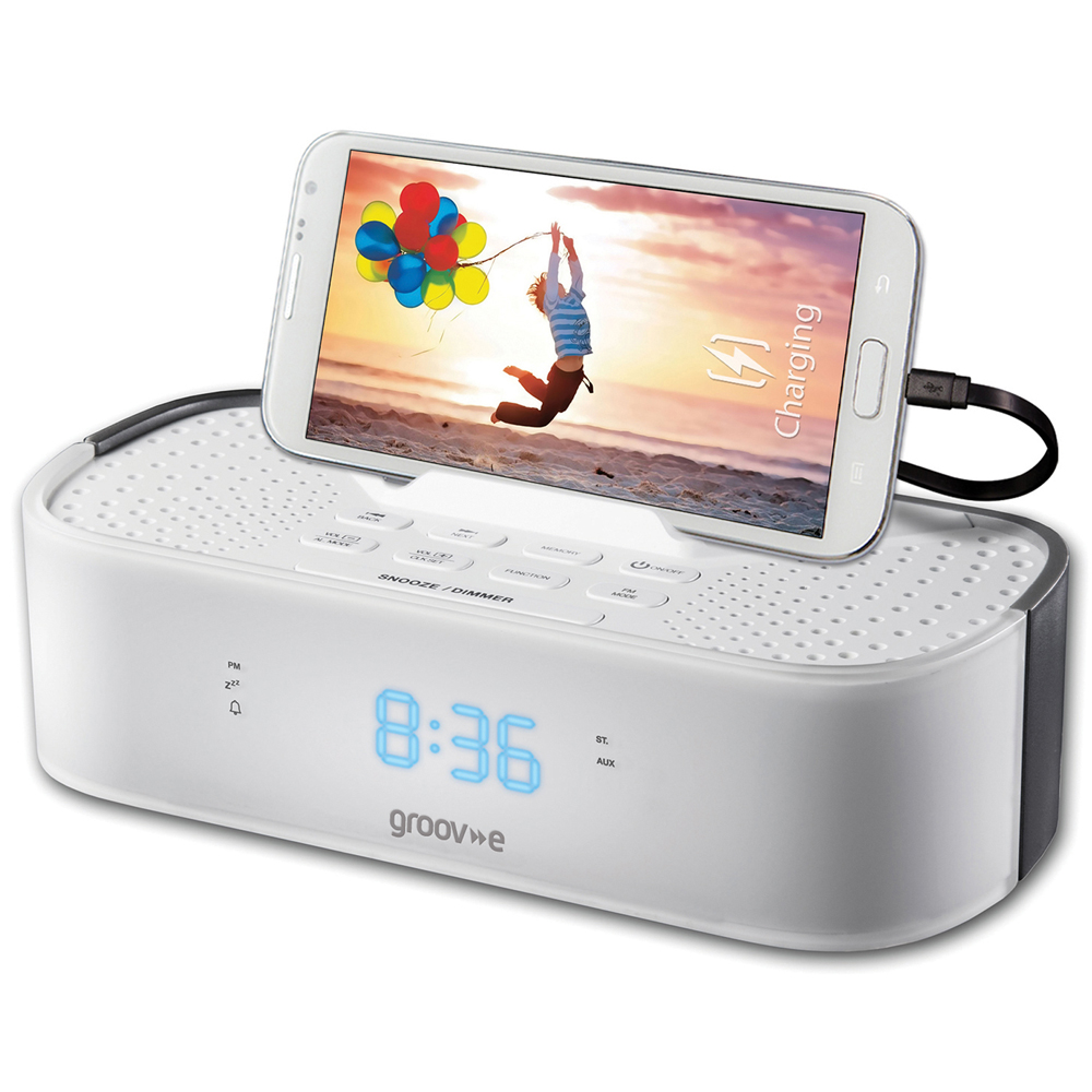 Groov-e GVSP406WE TimeCurve Alarm Clock Radio with USB Charging Station - White
