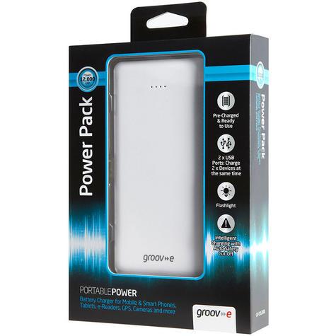 Groov-e GVCH12000 Portable Power Pack Charger|Dual USB Ports|12000mAh|White|New Thumbnail 4