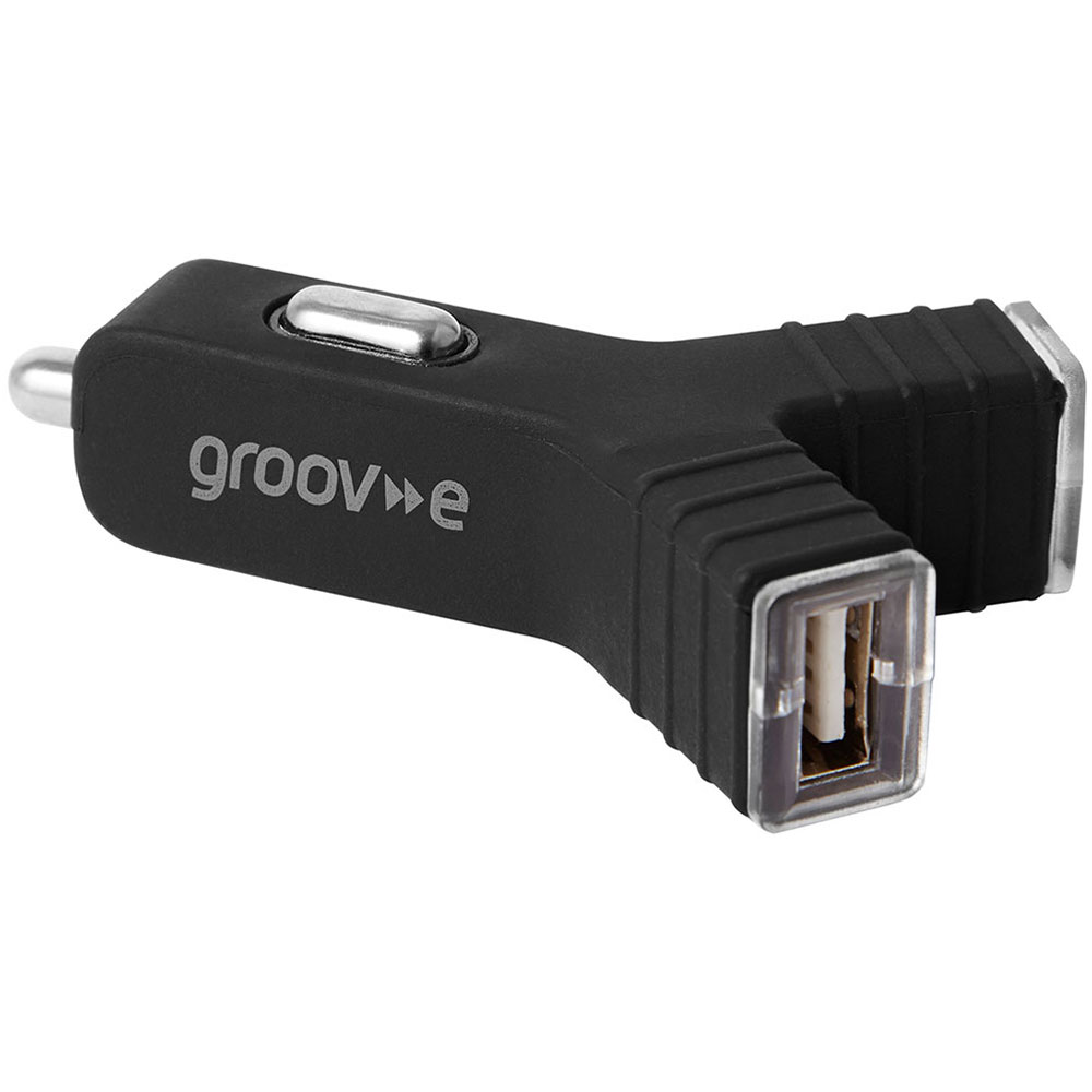 Groov-e GVCC2BK Dual USB Car Charger|2400mA|Smart Phone|Dash Camreras|GPS|Black|