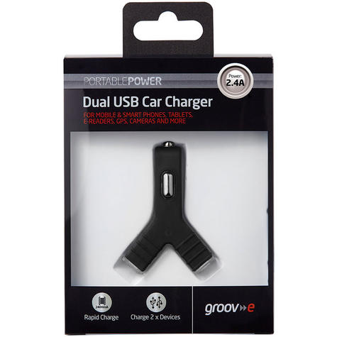 Groov-e GVCC2BK Dual USB Car Charger|2400mA|Smart Phone|Dash Camreras|GPS|Black| Thumbnail 4