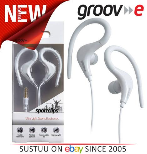 Groov-e Sports Over Ear Earphones for iPhone/iPod/MP3/Android Smartphones WHITE Thumbnail 1