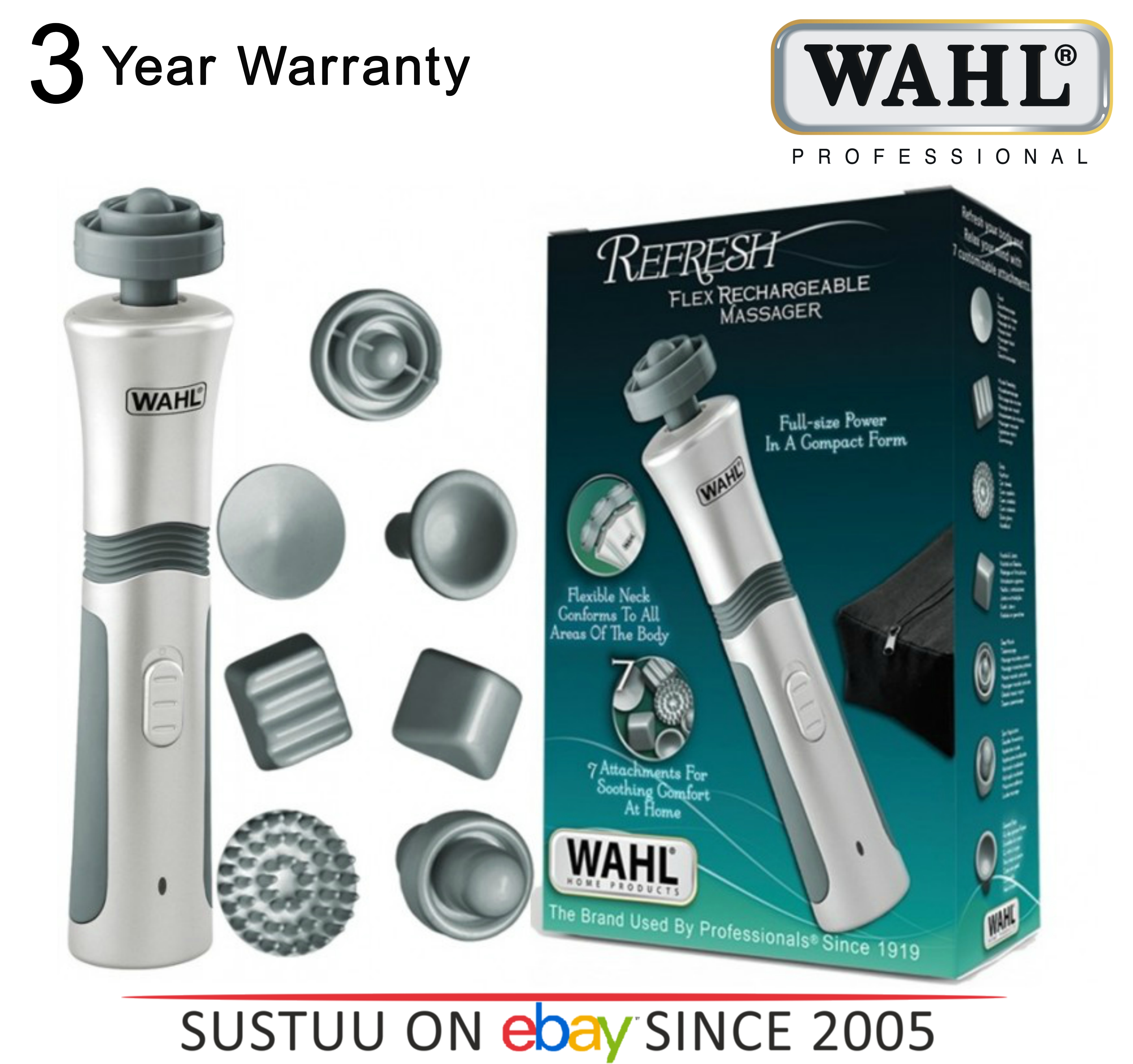 Wahl Flex Rechargeable Hand Helf Full Body Massager with 7 Attachments 4294-027