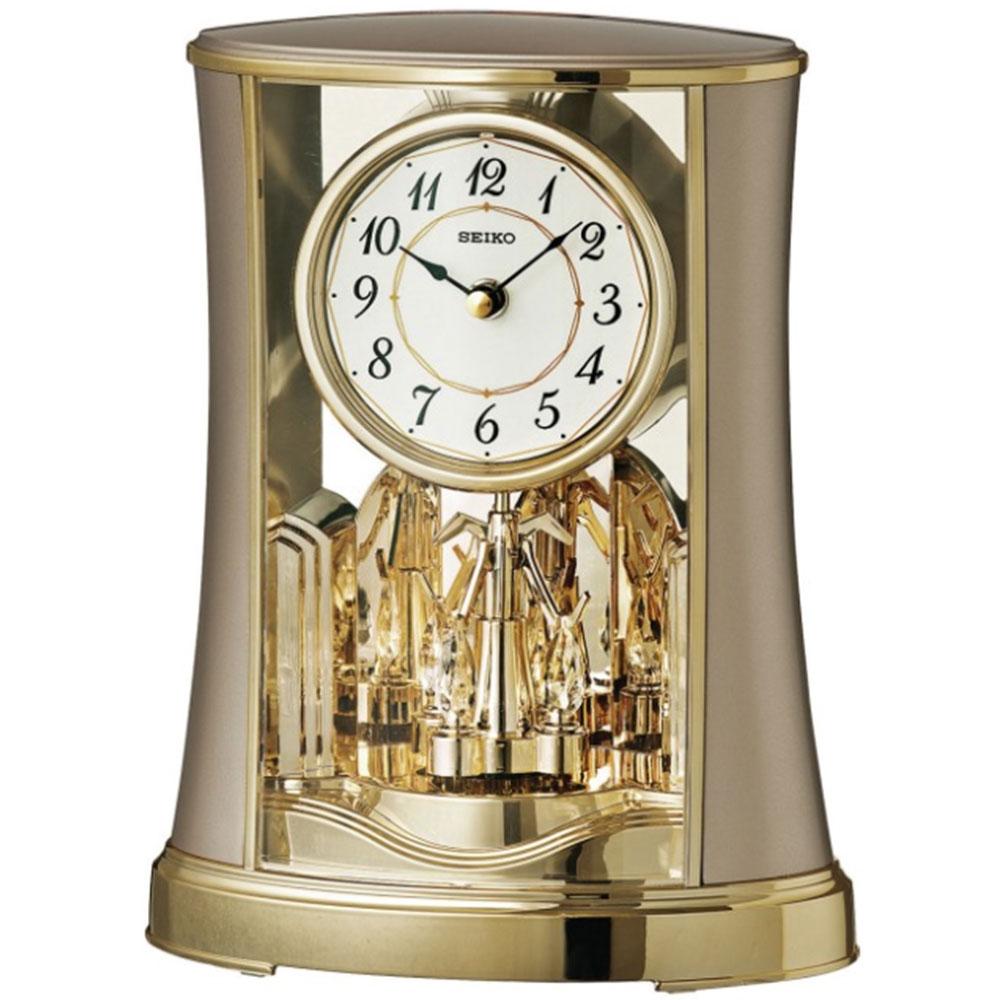 Seiko QXN227G Rotating Pendulum Clock Gold Analog