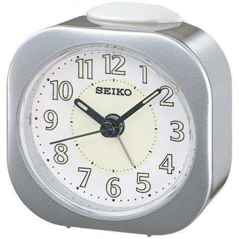 Seiko Luminious Alarm Clock - Silver Analog QHE121S Thumbnail 1