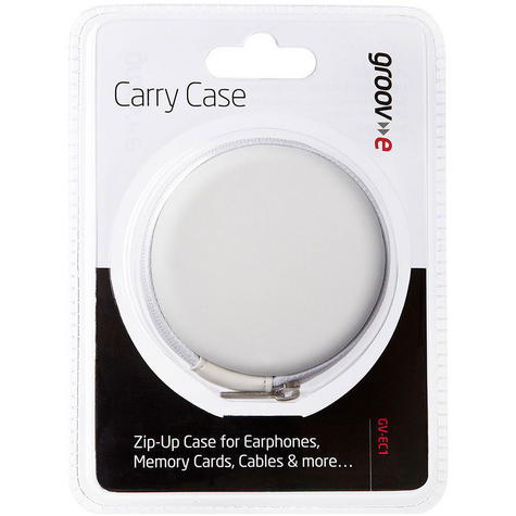 Groov-e Zip Up EVA Durable Carry Case for Earphones,Memory Cards,Cables - White  Thumbnail 4