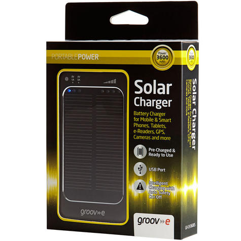 Groov-e GVCH3600S|Portable Solar Power Charger|USB|For iPad/Tablets|3600mAh|New Thumbnail 4