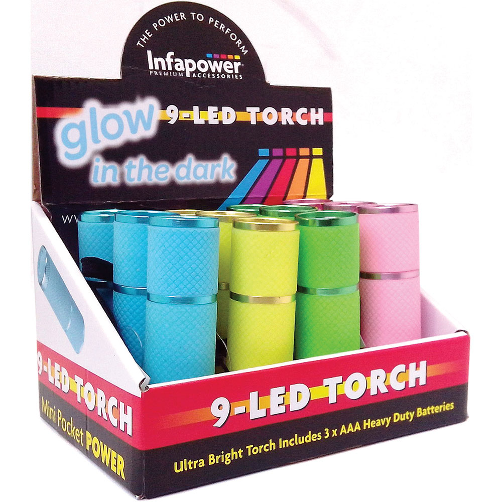 Infapower Glow In The Dark - 9 LED Torch (Pack of 12) Pocket/Portable  F007