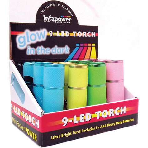 Infapower Glow In The Dark - 9 LED Torch (Pack of 12) Pocket/Portable  F007 Thumbnail 1