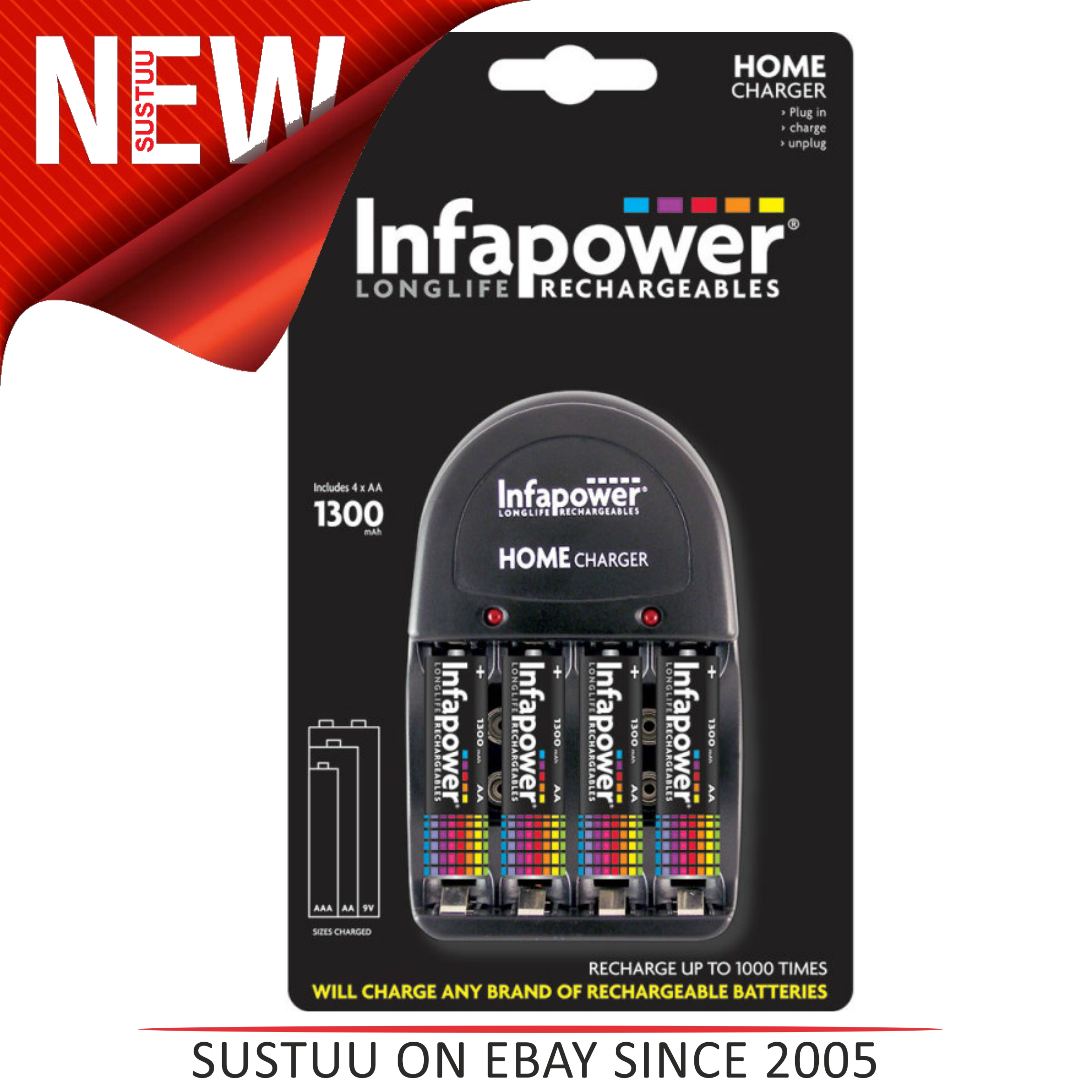 Infapower C001 Home Charger with 4 x AA 1300mAh Ni-Mh Rechargeable Batteries